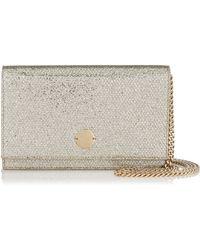 Jimmy Choo - Florence Champagne Glitter Fabric Clutch Bag - Lyst