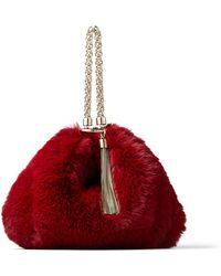 Jimmy Choo Callie Bordeaux Faux Fur Clutch Bag Bordeaux One Size - Red