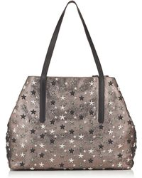 Jimmy Choo - Pimlico/s Gunmetal Glitter Leather Small Tote Bag With Silver Gunmetal Metallic Stars - Lyst