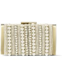 Jimmy Choo J Box Ballet Pink Soft Suede Clutch Bag With Mixed Pearl Embroidery - Multicolour