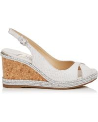 Jimmy Choo - Amely 80 Latte Snake Embossed Leather Wedges With Braid Trim Wedge Latte 34 - Lyst