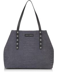 Jimmy Choo Pimlico/s Slate Crocodile Printed Nubuck Leather Small Tote Bag With Star Trim Slate One Size - Gray