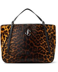 Jimmy Choo Varenne Tote E/w Natural Degrade Leopard Print Pony Large Tote Bag Natural/silver One Size - Multicolour