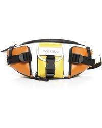 Jimmy Choo Orion Sun Satin Leather Mix Belt Bag With Sporty Finish - Multicolour