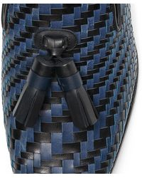 Jimmy Choo Foxley/m Black And Navy Woven Leather Slip-on Shoes With Tassel Black/navy 43 - Blue
