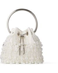 Jimmy Choo Bon Bon Latte Satin Bag With Pearl Embroidery And Metal Handle Cream One Size - Multicolor