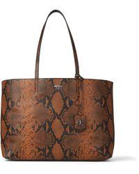 Jimmy Choo Nine2five E/w Cuoio Snake Printed Leather Tote Handbag With Jc Emblem - Brown