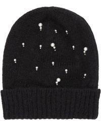 Jimmy Choo Elly H6e044200 Black Wool Blend Hat