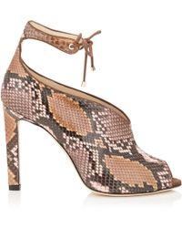 d307b6fc9d8 Jimmy Choo - Sayra 100 Rosewater And Nutmeg Dgrad Painted Python Booties -  Lyst