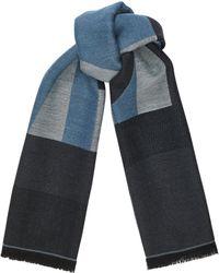 Jimmy Choo - Jude Sky Grey Wool Branded Scarf - Lyst