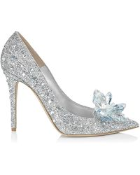 Jimmy Choo Avril Crystal Covered Pointy Toe Pumps - Metallic