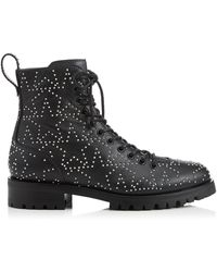 Jimmy Choo Cruz Ankle Boots Aus Strukturiertem Leder Mit Nieten - Schwarz