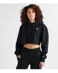 Champion Reverse Weave Cropped Hoodie - Black