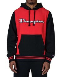 Champion Reverse Weave Colorblocking Hoodie - Red