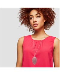 Joe Fresh - Long Silver Tone Leaf Pendant Necklace - Lyst