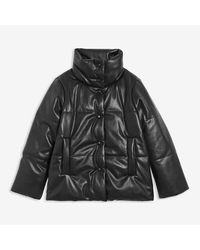Joe Fresh Faux Leather Puffer - Black