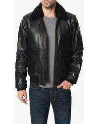 Joe's Jeans Shearling Collar Flight Jacket - Black