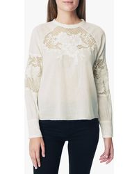 Joe's Jeans Marjorie Latern Slv / Lace Panel Blouse - White