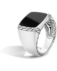 John Hardy Classic Chain Signet Ring With Black Jade