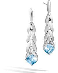 John Hardy Magic Cut Drop Earring With Blue Topaz And Diamonds London blue topaz 2zn1JUGzh