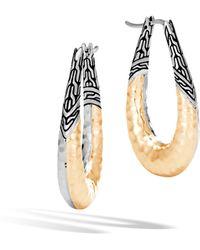 John Hardy - Classic Chain Hammered Hoop Earring - Lyst