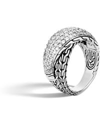 John Hardy - Classic Chain Overlap Ring With Diamonds - Lyst
