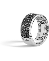 John Hardy - Classic Chain Band Ring With Black Sapphire And Spinel - Lyst