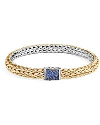 John Hardy - Reversible Classic Chain Bracelet With Blue Sapphire And Diamond - Lyst