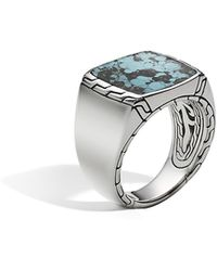 John Hardy - Classic Chain Signet Ring With Turquoise - Lyst