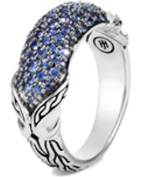 John Hardy Asli Classic Chain Blue Sapphire Pave Ring, Size 7