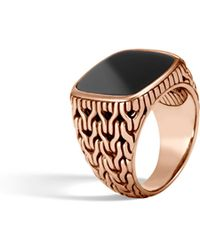 John Hardy - Classic Chain Signet Ring With Black Onyx - Lyst