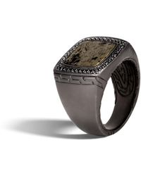 John Hardy - Classic Chain Signet Ring With Apache Gold And Black Sapphire - Lyst