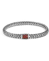 John Hardy - Reversible Classic Chain Bracelet With Garnet And Diamond - Lyst