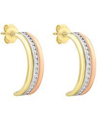 Ib&b - 9ct Gold Three Tone Half Hoop Earrings - Lyst