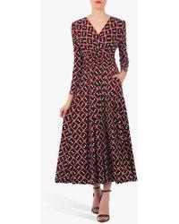 Jolie Moi Geometric Print Dress - Red