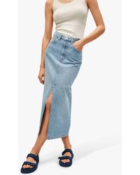 Mango Slit Detail Denim Skirt - Blue