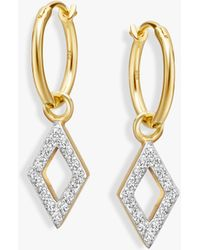 Missoma - Diamond Charm Hoop Earrings - Lyst