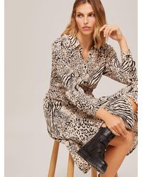 Somerset by Alice Temperley Mixed Animal Print Shirt Dress - Multicolour