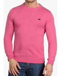 Raging Bull Cotton Cashmere Crew Neck Jumper - Pink