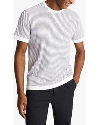 Reiss Banks Cotton Blend Stripe T-shirt - White