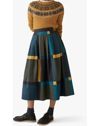 Toast Large Check Cotton Skirt - Green