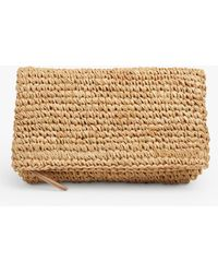 L.K.Bennett Danika Fold Over Straw Clutch Bag - Natural