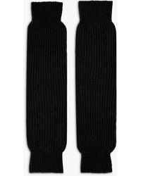 Brora Cashmere Rib Leg Warmers - Black