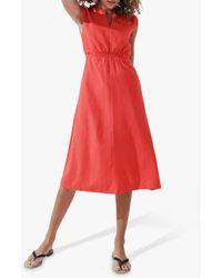 Crew Scalloped Sleeve Summer Dress - Orange