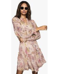 Reiss Cari - Floral Smock Dress - Pink