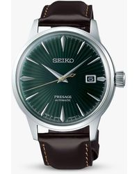 Seiko Presage Automatic Date Leather Strap Watch - Green