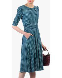 Jolie Moi Print Ruched Half Sleeves Dress - Blue
