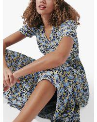 Crew Jilly Wrap Floral Midi Dress - Blue