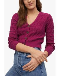 Mango Cropped Braided Knit Cardigan - Multicolour