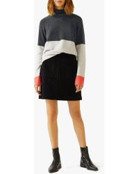Jigsaw Colour Block Cashmere Jumper - Grey